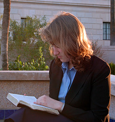 Woman reading scriptures 1