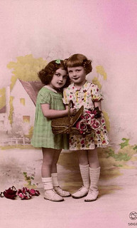 Vintage Postcard ~ Little Deco Girls